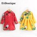 Eaboutique estilo chino nuevo año vestido de engrosamiento de vellón hermosa pintura en tinta patrón cheongsam de manga larga vestidos para niñas