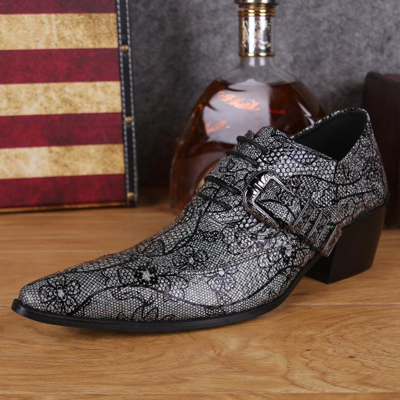 Plus Size Fashion Pointed Toe Lace up Man Oxfords Height Increasing Genuine Leather Men's Formal Dress Party Banquet Shoes SL223 pjcmg fashion black red lace up pointed toe genuine leather business carved formal casual dress oxfords shoes for man