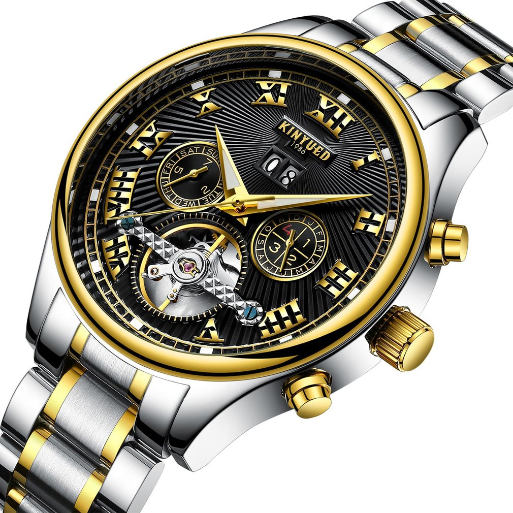 KINYUED Men Mechanical Watch Automatic Business Stainless Steel Style Strap Flywheel Design Round Dial Wrist Watch Best Gift kinyued brand men self wind waterproof stainless steel strap automatic mechanical male black dial fashion tourbillon watch
