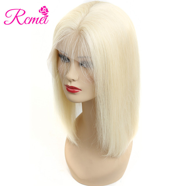 Rcmei 613 Blonde Bob Wig 13*4 Lace front Straight Human Hair Wigs Pre Plucked With Baby Hair Brazilian Remy Hair 150% Density