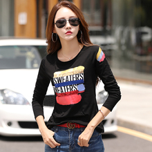 shintimes Sequin Tshirt Korean Clothes T-Shirt Women T Shirt Long Sleeve 2019 Cotton Letter Casual Tee Femme Polera Mujer