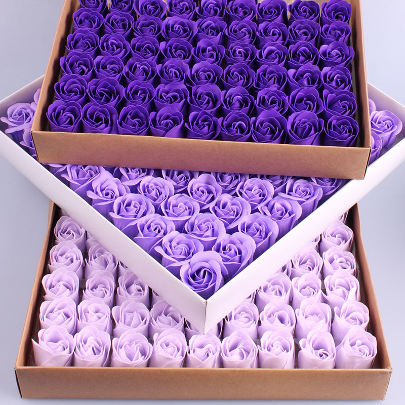 81PCS Colorful Heart-Shaped Rose Soap Flower Wedding Party Gift Handmade Petal Decor Bath Dark Purple Violet Lavender Romantic