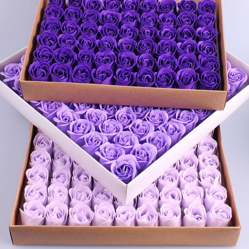 81PCS Colorful Heart-Shaped Rose Soap Flower Wedding Party Gift Handmade Petal Decor Bath Dark Purple Violet Lavender Romantic