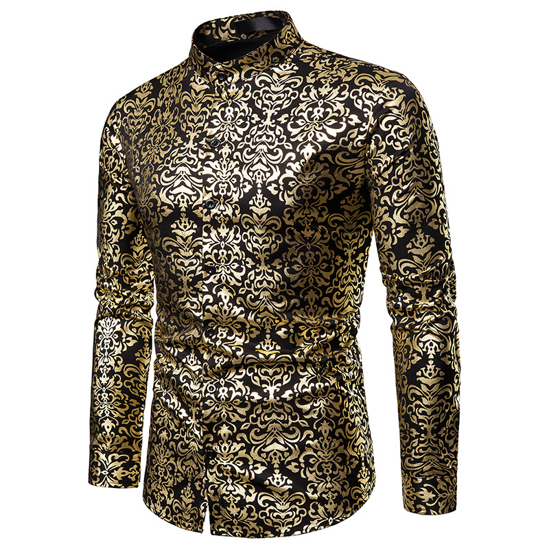 Men Hipster Luxury black gold Bronzing Printed Slim Long Sleeve Dress Shirt wedding Night club Hip hop party Singer stage Shirts(China)