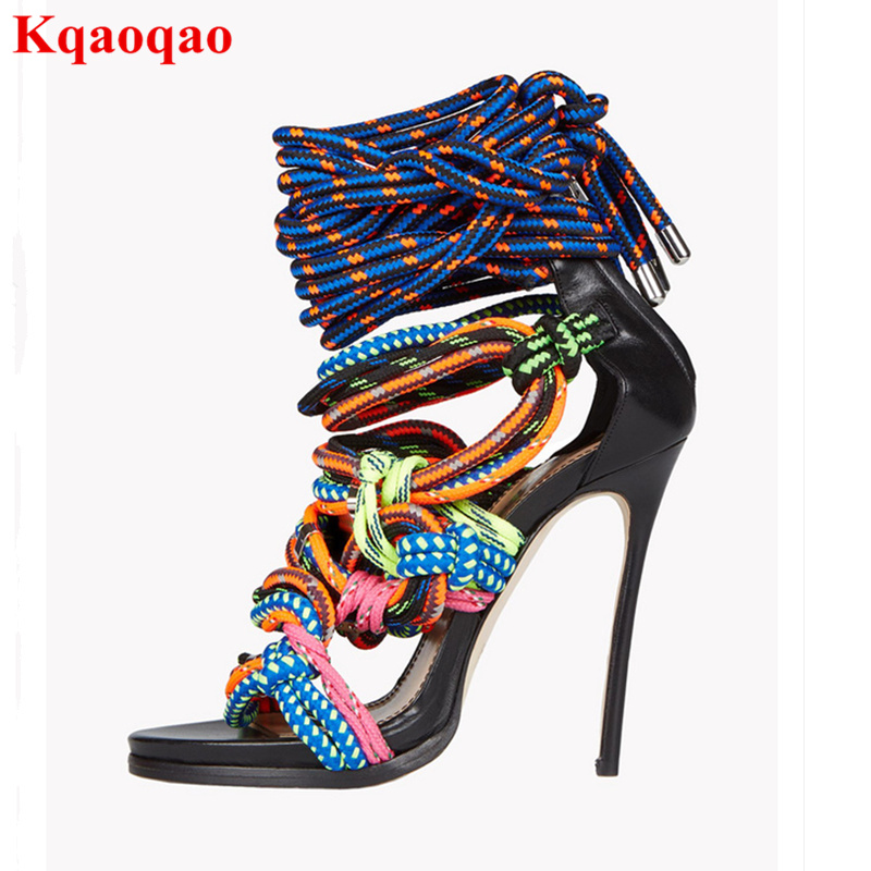 Open Toe High Thin Heel Women Pumps Gladiator Ethnic Style Colorful Narrow Band Women Shoes Chaussures Femmes Sandales Gladiateu