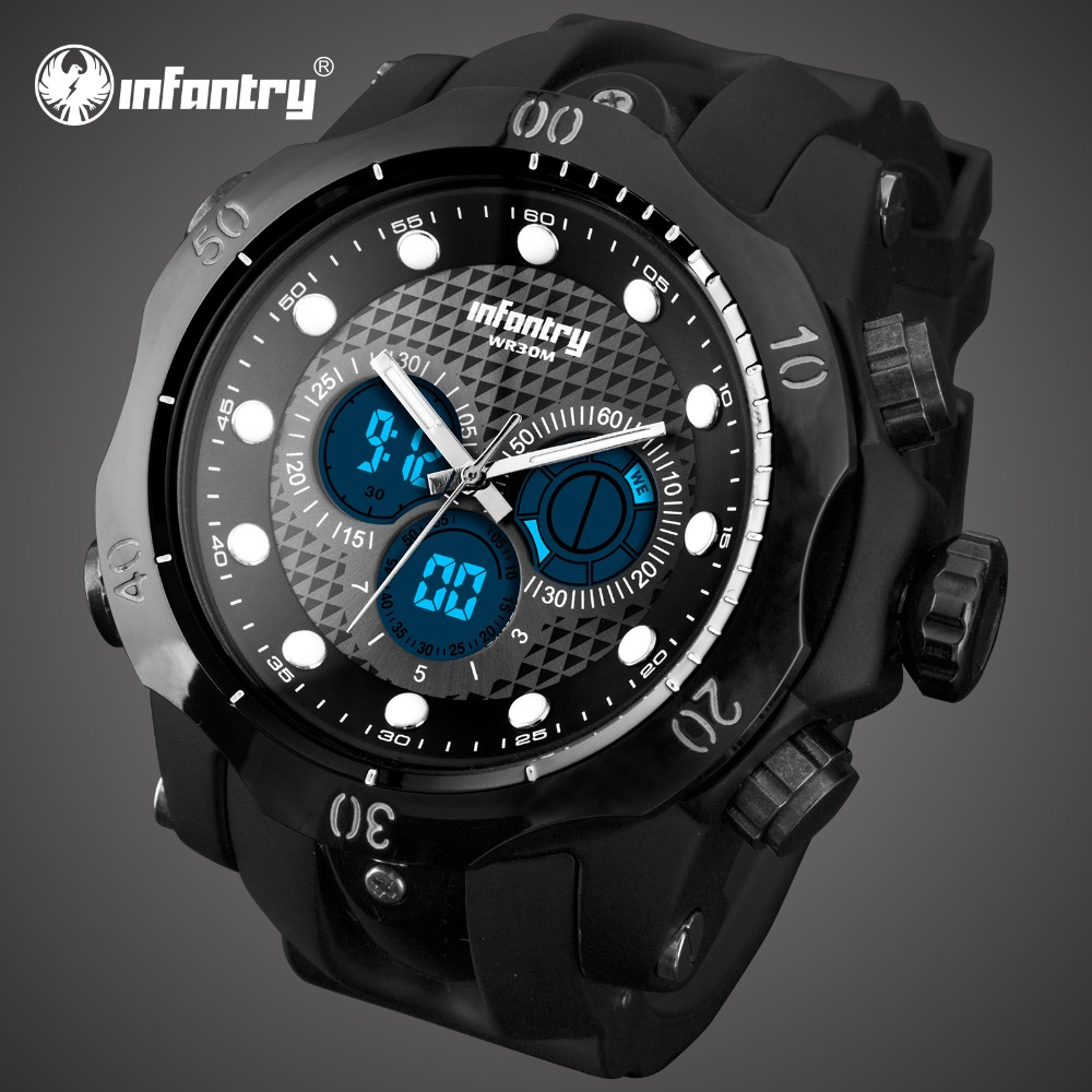 цена на INFANTRY Mens Watches Top Brand Luxury Analog Digital Military Watch Men Big Sport Army Luminous Watch for Men Relogio Masculino