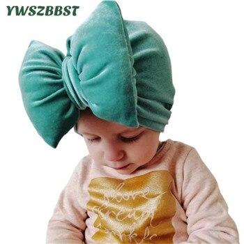 New Autumn Winter Velvet Baby Hat Bowknot Kids Cap Baby Hat for Boys Girls Plus Velvet Warm Solid Color Children Hat keying baby sleeping bags velvet with cap 2017 autumn