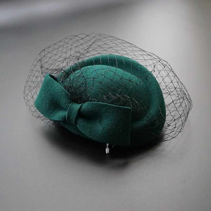 Women Elegant Bowknot Veil Fascinator Hat Cocktail  Beret Cap Lady Wedding Party Church Hair Accessories Wool Felt Pillbox Hat