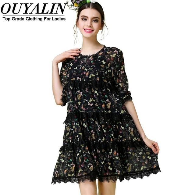 Ouyalin S 5xl Butterfly Print Women Chiffon Summer Dress Lace Patch