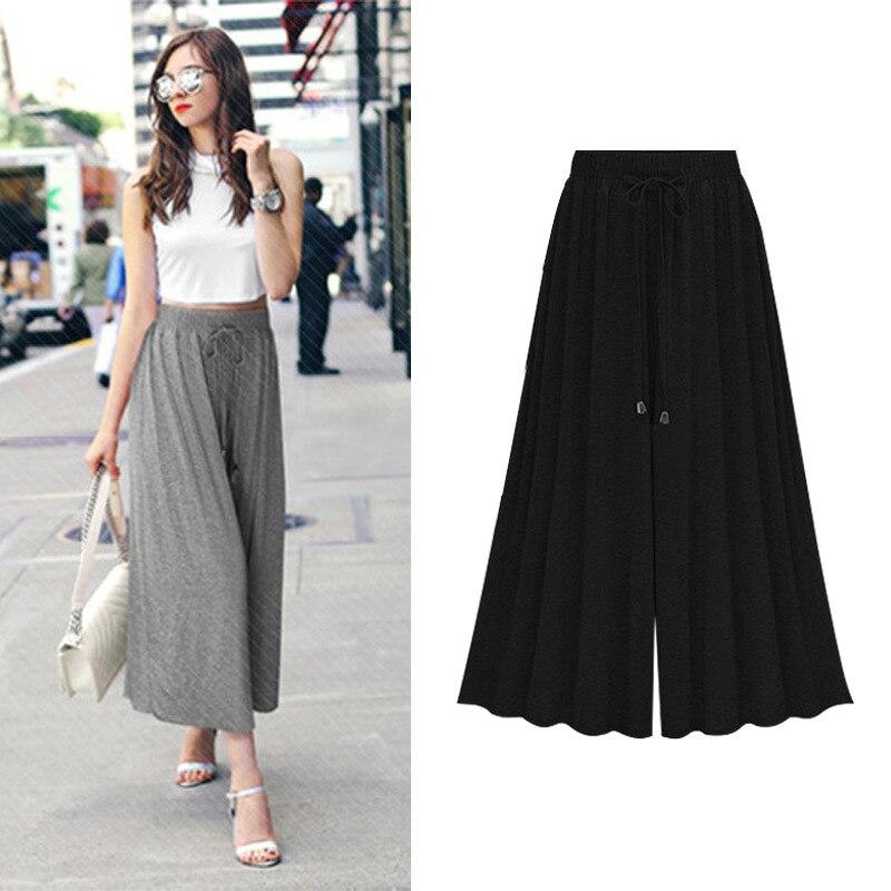 6XL Summer Fashion Women Wide Leg Loose Cotton Dress Pants Female Casual Skirt Trousers Capris Culottes 2018 Trousers Women
