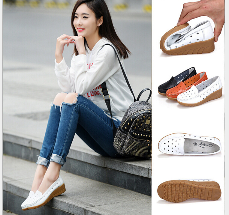 Spring Shoes Woman Genuine Leather Women Shoes Flats hollow out Loafers Slip On Women's Flat Shoes Moccasins Plus Size 35-41 flat shoes women pu leather women s loafers 2016 spring summer new ladies shoes flats womens mocassin plus size jan6