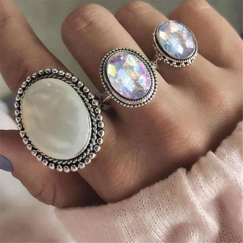 3pcs/Set Punk Finger Rings for Women Female Vintage Opal Resin Wedding Knuckle Ring Set Fashion Jewelry Accessories