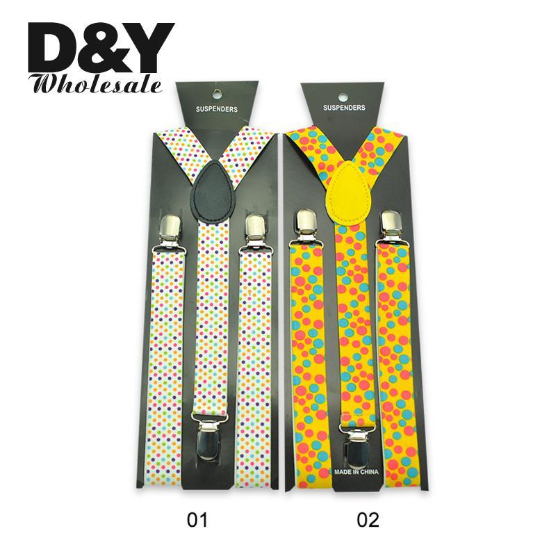 25mm Wide Suspender Colorful Dot Rainbow Dot Black Yellow Colors Suspenders Men Gentlemen Women Unisex Y-back Classic Braces