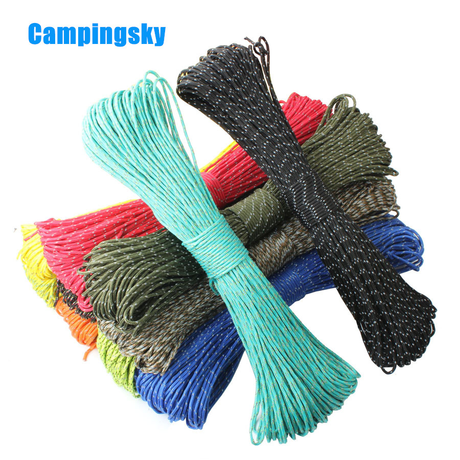 CAMPINGSKY  2mm Paracord Reflective 3 Strand Paracord Core Outdoor Camping Corda Parachute Cord Lanyard Tent Multifunction Rope