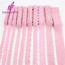 Lucia Crafts 2y/6y Multi Size Pink Embroidery Lace Trim Ribbons DIY Garment Headdress Wedding Wrapping Fabric Materials 17010023