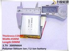3.7 V lithium polymer battery 3000 mah 114550 mobile power supply tablet GPS navigator