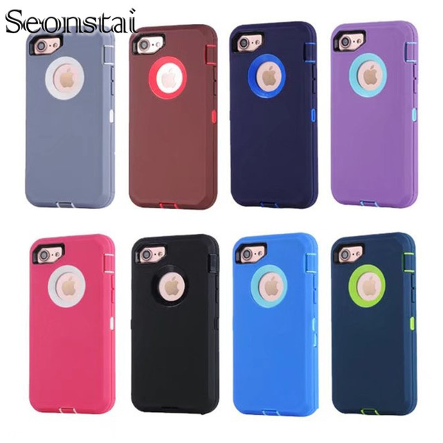 new arrivals 4e943 7d4b4 US $9.99 20% OFF|Seonstai Shockproof Armour Case for iPhone 7 7 plus 8 8  plus Slim Rugged Shield Back Cover for iPhone X Defender 2 Cases Armor-in  ...