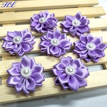20pcs 35mm Purple color ribbon flowers with pearl handmade wedding decorations sewing appliques A112