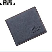 Genuine Leather short crocodile men Wallets thin wallet men's money clip black purses coin pouch carteira Wallet Free Shipping