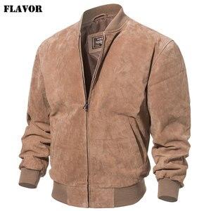 Image 2 - FLAVOR Men klasyczny prawdziwy świński płaszcz prawdziwy Baseball Bomber skórzana kurtka
