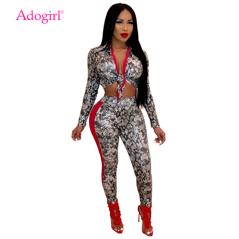Adogirl Snakeskin Print Women Sexy Two Piece Set Front Tie Turn Down Collar Long Sleeve Crop Top + Pencil Pants Fashion Outfits
