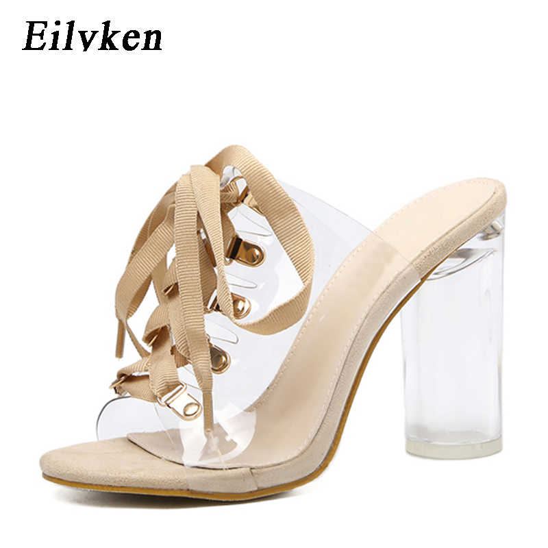 Eilyken 2019 New Sexy PVC Transparent Gladiator Sandals Peep Toe Lace-Up Shoes Clear Chunky heels Sandals slippers Women