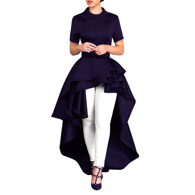 US $20.34 25% OFF|Women Short Sleeve High Low Peplum Dress Bodycon Casual  Party Club Dress Casual Turtleneck plus size Lotus leaf dress-in Dresses ...