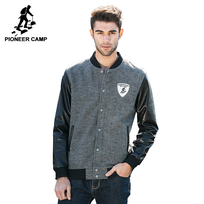 Pioneer Camp 2016 new autumn winter men jacket fashion cardigan coat Leather jacket baseball men bomber