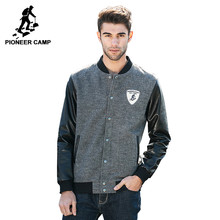 Pioneer camp 2016 neue herbst winter männer mode strickjacke mantel lederjacke baseball männer bomberjacke 622022