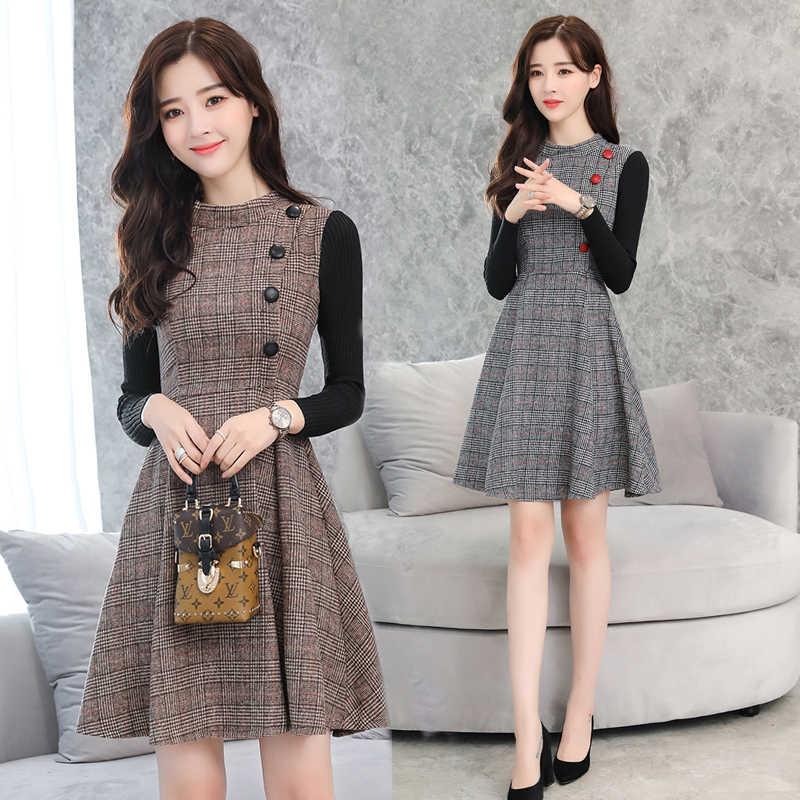 Осенне-зимнее женское платье, новинка 2019, модное шерстяное платье в клетку, сшитое, приталенное, большой размер, с длинным рукавом, женское офисное платье K825