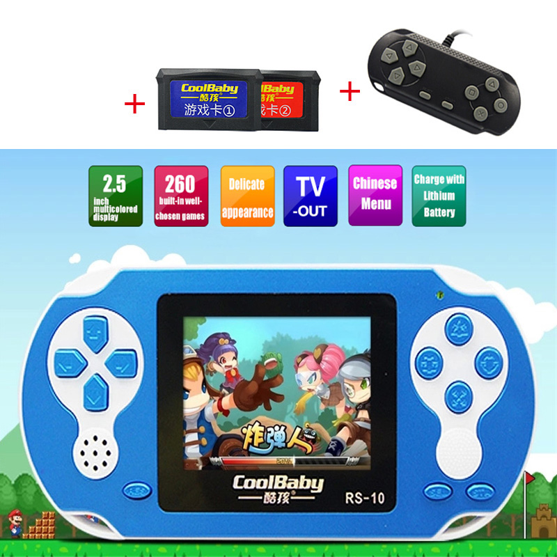 ФОТО Game Consoles CoolBaby RS-10 Built 200 Games +30IN 1 8BIT Children's Handheld Game Consoles Card Games Support External handles