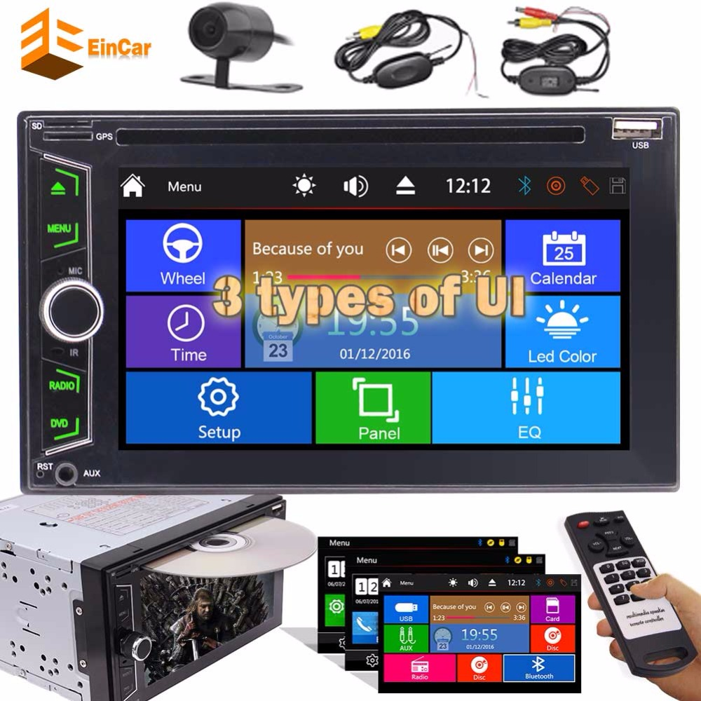 2 Din Car Autoradio Stereo Headunit Capacitive Screen DVD CD Player MP3 MP4 USB AM FM Radio Bluetooth AUX Subwoofer+Rear Camera 2 din autoradio car radio stereo in dash 6 2 headunit dvd player capacitive touch screen auto radio bluetooth usb sd fm am rds