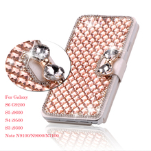 Luxury Bling Crystal Diamond Leather Flip Bag Cover For Samsung Galaxy S6 Edge Plus S5 4