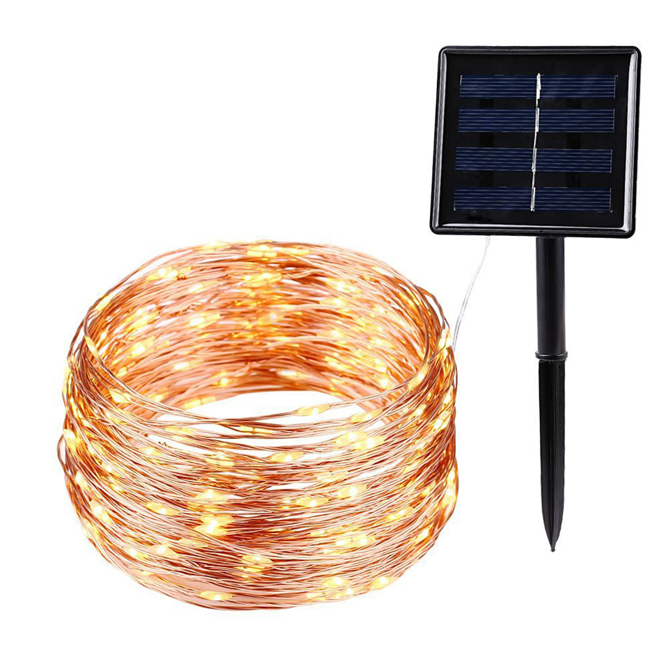 50/100/200 led Solar Powered String Lights Copper Wire Light Fairy Lights Indoor Outdoor Waterproof Holiday DIY Decoration Light