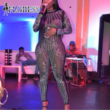 2018 Women Fashion Club Wear Mesh jumpsuit Female Sexy Costumes Shining Crystals Diamond Stretch Leotard Bodysuit Catsuit Party
