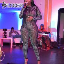 2018 Women Fashion Club Wear Mesh jumpsuit Female Sexy Costumes Shining Crystals Diamond Stretch Leotard Bodysuit