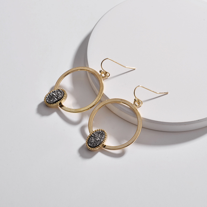 Faux Copper Circle Oval Druzy Quartz Drop Earrings 4