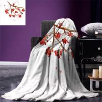 Blanket Rowan Berry Branch with Watercolor Splashes Artistic Floral Abstract Display Warm Microfiber Blanket Red White