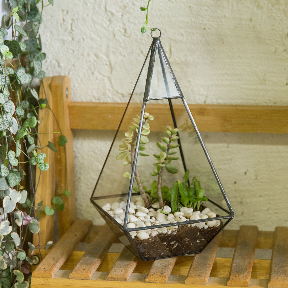 Triangle Pyramid Geometric Glass Terrarium Box Succulent Fern Moss Planter Hanging <font><b>Plant</b></font> Pots Bonsai Pots Flower Pots For Garden