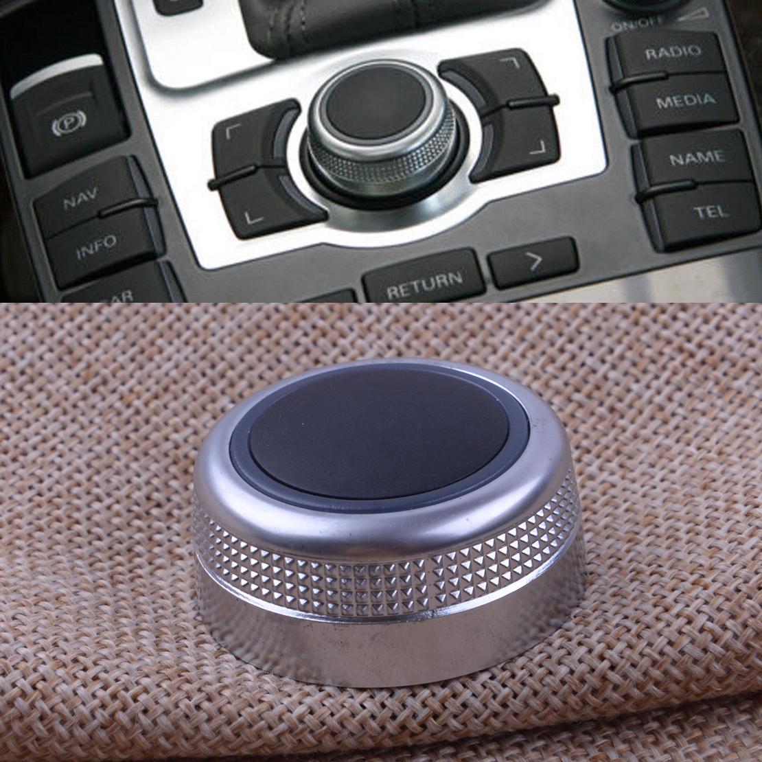 CITALL Chrome Plated Car Multimedia Rotary Knob Main Menu Control Switch Cover Cap 4F0919069 for <font><b>Audi</b></font> A6 <font><b>A8</b></font> Quattro Q7 2007 <font><b>2008</b></font> image