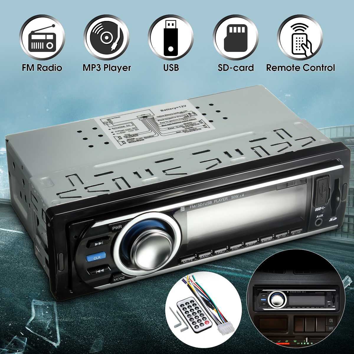 Mp3-Player Radio Remote-Control Stereo In-Dash Car 12V 1-Din Aux-Receiver Vehicle USB