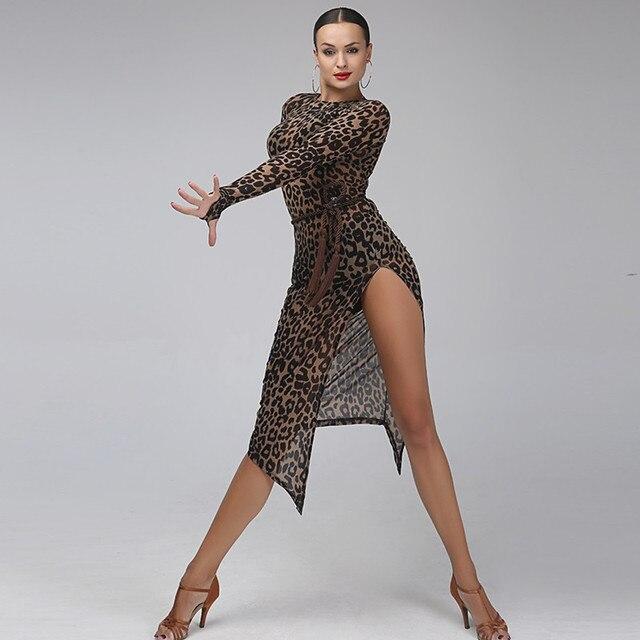 Leopard Latin Dance Dress Women Tango Dress Salsa Rumba Modern Dance
