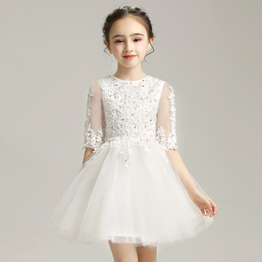 Sequins Beads Girls Applique Dress Lace Children First Communion Gowns Elegant Half Sleeve Weddding Pageant Princess Dresses
