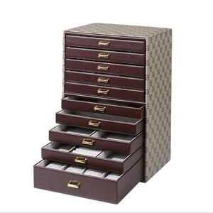 Image 4 - Wielowarstwowy wyświetlacz o dużej pojemności PU skórzane pudełko do przechowywania biżuterii pudełko wystawowe walizki do przenoszenia na pierścionki naszyjniki biżuteria