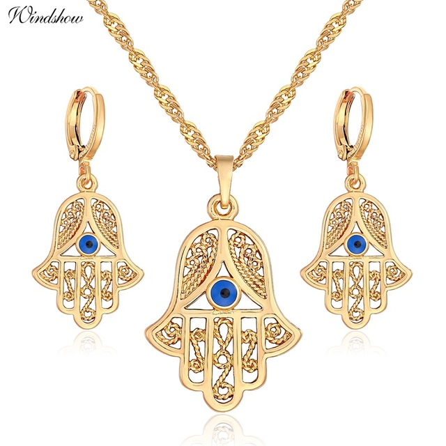 "Yellow Gold Color Evil Eyes Hamsa Symbol Fatima Hand 18"" Necklaces & Pendants Earrings Costume Jewelry Sets for Women Girls"