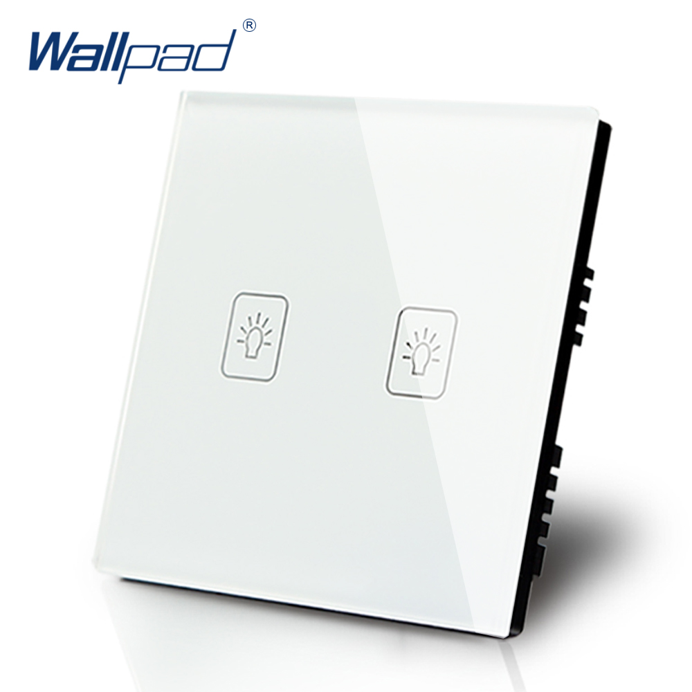 Wallpad Luxury White Crystal Glass Wall Switch Touch Switch Normal 2 Gang 1 Way Switch AC 110-250V UK Standard smart home us au wall touch switch white crystal glass panel 1 gang 1 way power light wall touch switch used for led waterproof