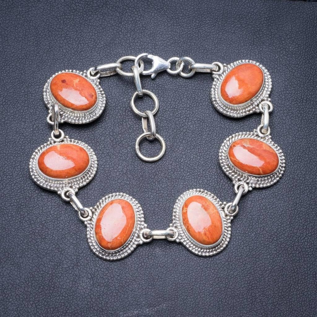 Natural Coral Handmade Unique 925 Sterling Silver Bracelet 7 1/4-8 1/4