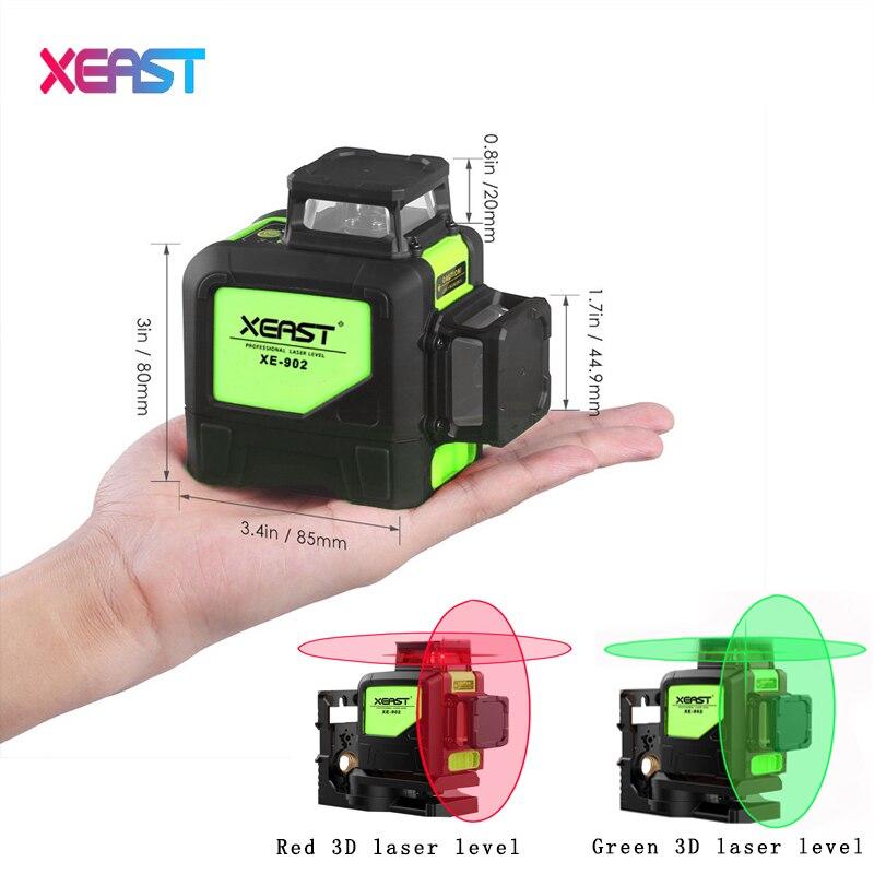 XEAST XE-902 8 линейных лазерный уровень 360 наливные 3D лазерный уровень вертикальной и горизонтальной кросс супер мощный зеленый лазерный луч