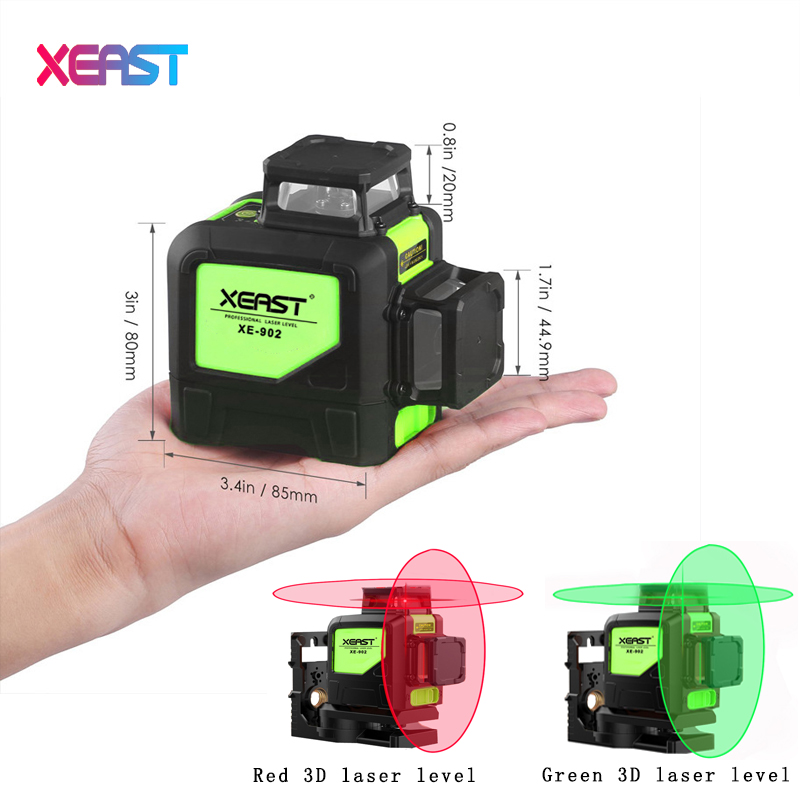 XEAST XE-902 8 line laser level 360 Self-leveling 3D Laser Level Vertical and Horizontal Cross Super Powerful Green Laser Beam kapro laser level laser angle meter investment line instrument 90 degree laser vertical scribe 20 meters