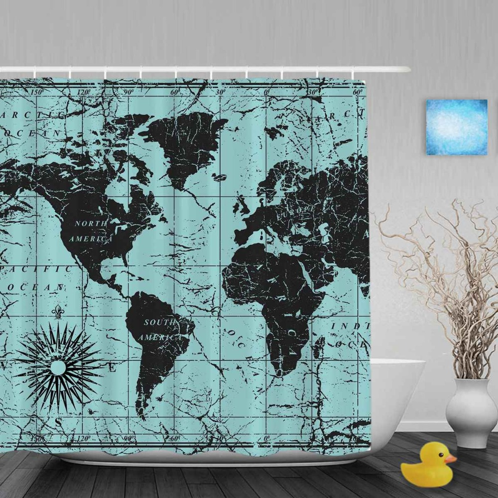 Vintage Word Map Shower Cutains Traveler Collction Decor Blue Bathroom Shower Curtains Polyester Waterproof Fabric With Hooks